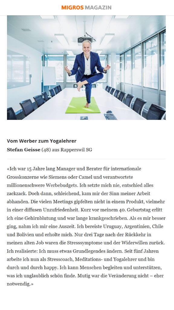 Stefan Geisse im Migros Magazin